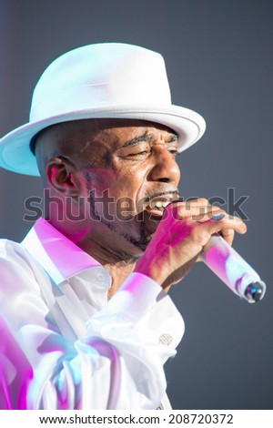 LINCOLN, CA - August 1: Ralph Tresvant of New Edition performs at Thunder Valley Casino Resort in Lincoln, California on August 1, 2014 - stock photo