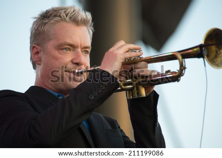 LINCOLN, CA - July 26: George Komsky performs with Chris Botti  at Thunder Valley Casino Resort in Lincoln, California on July 26, 2014 - stock photo