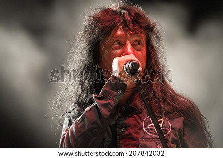 LINCOLN, CA - July 25: Joey Belladonna  of Anthrax performs in support of That Metal Show featuring Anthrax and Corey Taylor at Thunder Valley Casino Resort in Lincoln, California on July 25, 2014 - stock photo
