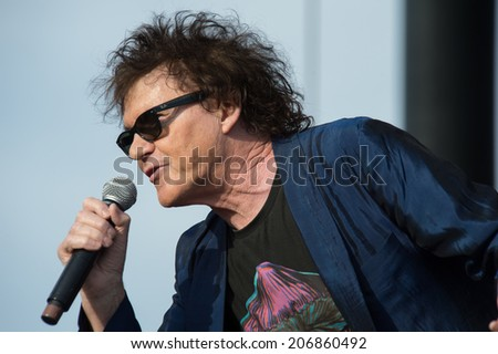 LINCOLN, CA - July 19: Pete Byrne of Naked Eyes performs in support of the Replay America Tour at Thunder Valley Casino Resort in Lincoln, California on July 19, 2014 - stock photo