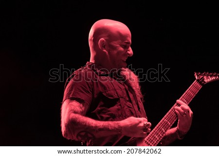 LINCOLN, CA - July 25: Scott Ian  of Anthrax performs in support of That Metal Show featuring Living Colour and Corey Taylor at Thunder Valley Casino Resort in Lincoln, California on July 25, 2014 - stock photo