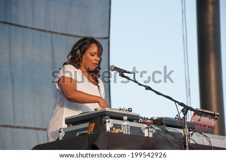 LINCOLN, CA - June 14: Deidra Muriel Roper, known as DJ Spinderella with Salt N Pepa perform in support of Summer Jam 2014 at Thunder Valley Casino Resort in Lincoln, California on June 14, 2014 - stock photo
