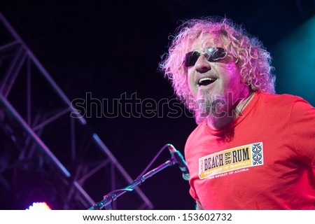 LINCOLN, CA - September 5: Sammy Hagar performs in support of his 'Forty Decades of Rock' tour at Thunder Valley Casino Resort in Lincoln, California on September 5, 2013 - stock photo