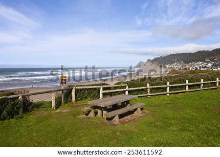 Lincoln City neighborhood homes on the beach front Oregon. - stock photo