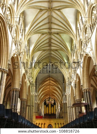 LINCOLN, LINCOLNSHIRE-JULY 3:The nave of Lincoln Cathedral on July 3, 2012. A cathedral of great historic and architectural importance that was once the tallest building in the world - stock photo