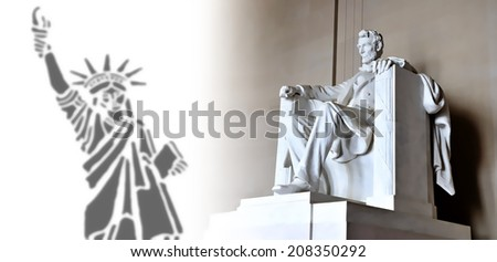 Lincoln Memorial and Liberty Statue illustration - stock photo
