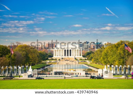 Lincoln memorial and pool in Washington DC, USA - stock photo