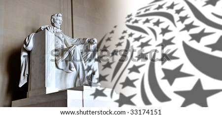 Lincoln Memorial and stars and stripes - stock photo