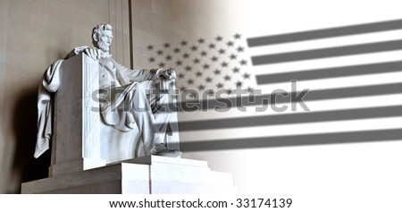 Lincoln Memorial and US flag - stock photo