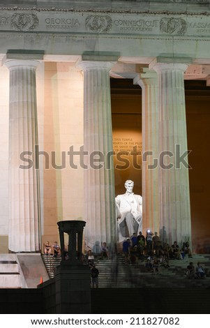 Lincoln Memorial at night - Washington D.C. United States of America - stock photo