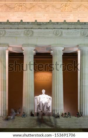 Lincoln Memorial at night, Washington DC - United States - stock photo
