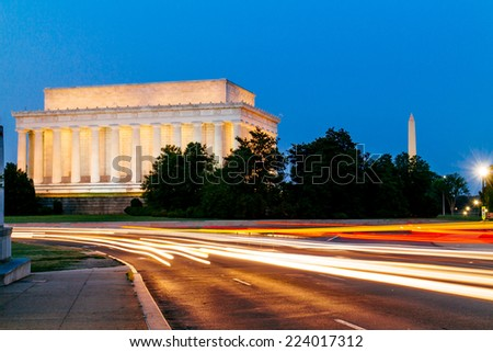Lincoln Memorial at night with light trail. - stock photo
