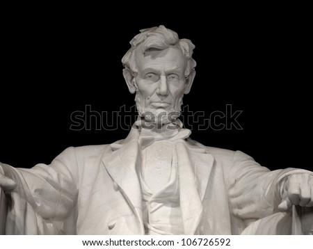 Lincoln Memorial Close Up Isolated on Black - stock photo