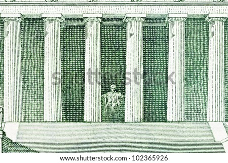 Lincoln Memorial depiction of the US Five Dollar Bill. - stock photo