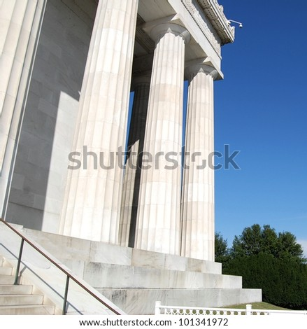 Lincoln Memorial Exterior Architecture ,and Column Structure in Washington DC , USA