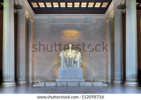 Lincoln Memorial, HDR image of the shrine interior - Washington DC - stock photo