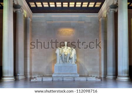 Lincoln Memorial, HDR image of the shrine interior - Washington DC - stock photo