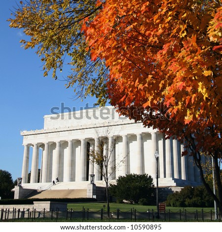 Lincoln memorial in autumn Washington DC