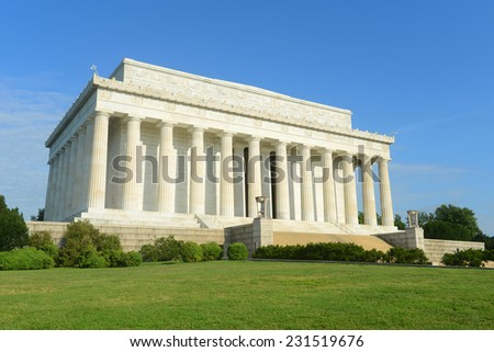 Lincoln Memorial in the morning in Washington DC, USA - stock photo
