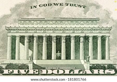 Lincoln memorial on paper five dollars bill macro - stock photo