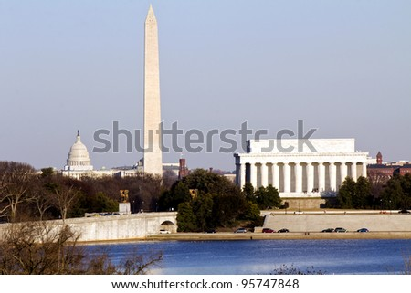 Lincoln Memorial, Washington Monument and Capitol building in line before sunset sunset - stock photo
