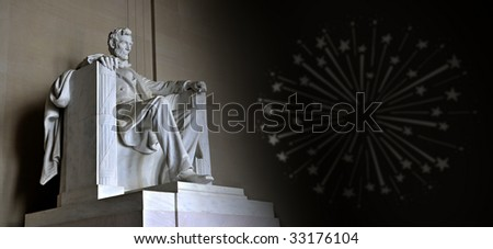 Lincoln Memorial with shooting stars - stock photo