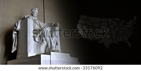 Lincoln Memorial with US map - stock photo