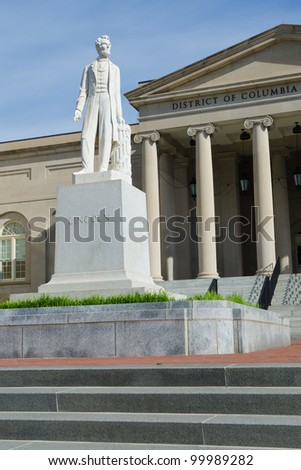 Lincoln monument in front of district court building in Washington DC - stock photo