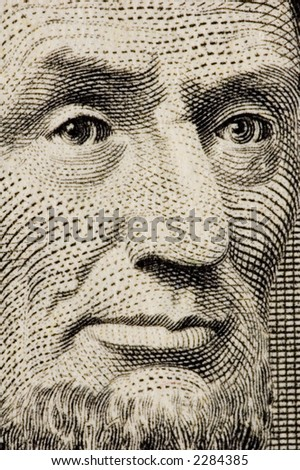 Lincoln on a $1 bill extreme close up - stock photo