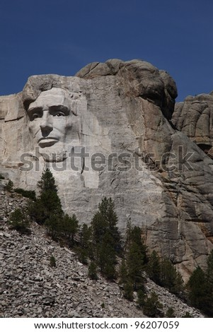 Lincoln on Mount Rushmore - Close up of Abraham Lincoln at Mt. Rushmore in South Dakota.