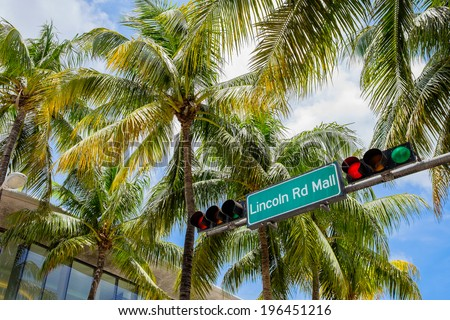 Lincoln Road Mall street sign located in Miami Beach. - stock photo