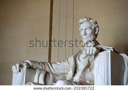 Lincoln Statue in Lincoln Memorial, Washington DC, USA - stock photo