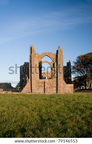 Lindisfarne priory on Holy Island  Northumberland England - stock photo