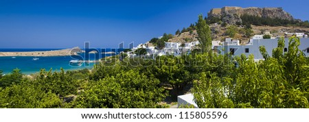 Lindos bay of Rhodes island, panoramic view, Greece - stock photo