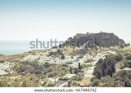 Lindos City on perfect sunny day