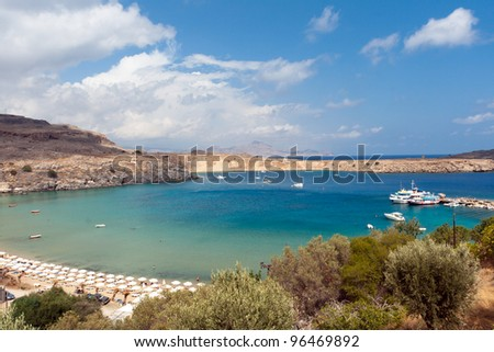 lindos. Island of Rhodes in Greece - stock photo