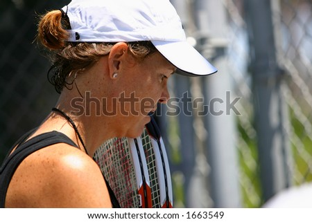 Lindsay Davenport at the JP Morgan Chase Open tennis tournament - stock photo