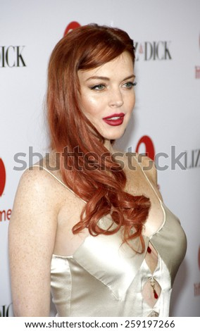 """Lindsay Lohan at the Los Angeles premiere of """"Liz & Dick"""" held at the Beverly Hills Hotel in Los Angeles, United States on November 20, 2012. - stock photo"""