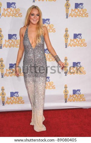 Lindsay Lohan at the 2010 MTV Movie Awards at the Gibson Amphitheatre, Universal Studios, Hollywood. June 6, 2010  Los Angeles, CA Picture: Paul Smith / Featureflash - stock photo