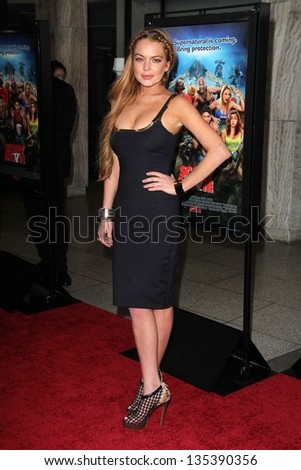"Lindsay Lohan at the ""Scary Movie V"" Premiere, Cinerama Dome, Hollywood, CA 04-11-13 - stock photo"