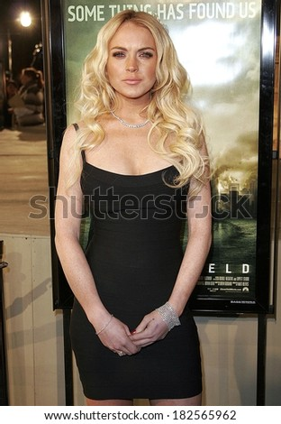 Lindsay Lohan, wearing a Herve Leger dress, at CLOVERFIELD Premiere, Paramount Pictures Lot, Los Angeles, CA, January 16, 2008