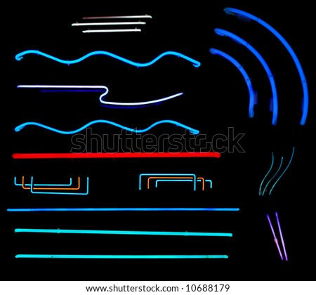 Line and bars from neon signs for design elements - stock photo