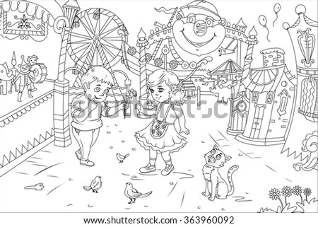 Line Art / Coloring Book Illustration for Children: Shy Boy date a Beautiful Girl he had a crush in the Class. Realistic Fantastic Cartoon Style Artwork Scene, Wallpaper, Story Background, Card Design