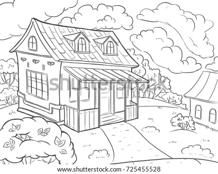 Line Art Coloring Page Landscape House In The Summer