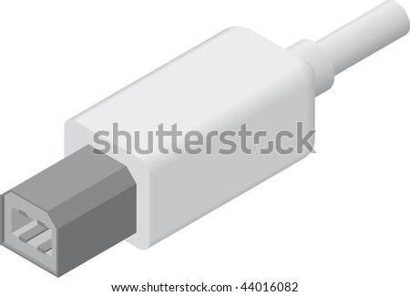 line art illustration of a USB B plug/cable in isometric view - stock photo