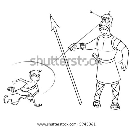 Line art of the classic Bible story of David versus Goliath. - stock photo
