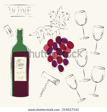 Line design elements. Red wine glasses, cork, corkscrew and red wine bottle and wine grapes set. Various types of wine glasses. Grungy sketch illustration for wine list, party menu background. - stock photo