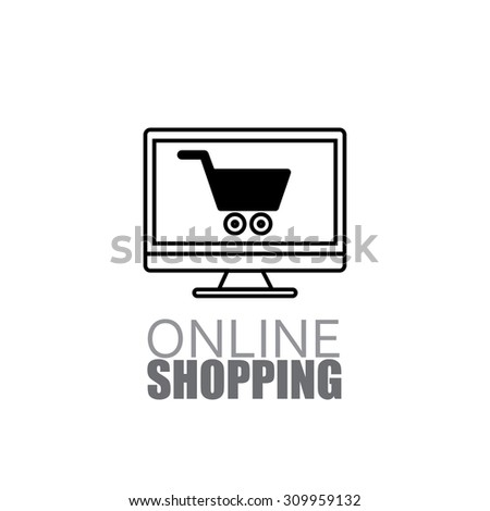 Line design online shopping using laptop and internet graphic icon - stock photo