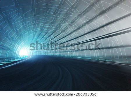 line draw framed tunnel racetrack in motion illustration