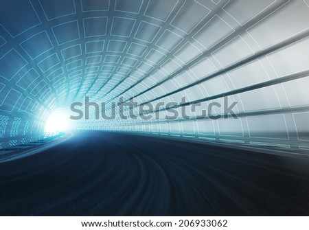 line draw tunnel along speed track in motion blur illustration